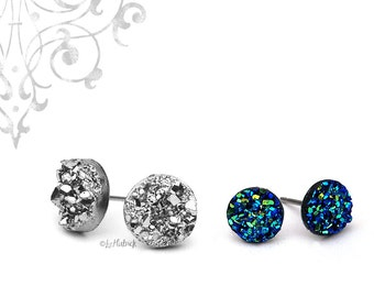 Faux Drusy Glitter Stud Earrings, 8mm Blue Black and 10mm Silver Metallic Resin Druzies, Two Pair Set - Stainless Steel or Titanium Posts