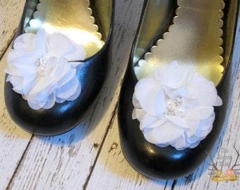 White Chiffon Flower Shoe Clips. Wedding Bride Bridesmaid Flower Girl Pearl Rhinestone