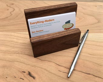Wooden Business Card Holder, Mid Century Business Card Holder, Gift for Him, Gift for Her