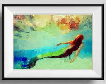 Mermaid  Print,Painting, home Decor,Gift for her, Mermaid summer party,Girl,Sister, Wall Art, Christmas Gift, Pic  No 116