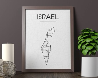 Israel Map, Israel Wall Art, Israel Art, Israel Poster, Israel Room Decor, Israel Print, Israel Printable, JPG, Instant Download