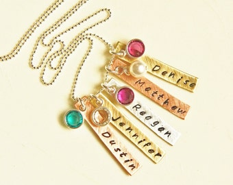 Mommys Name Necklace Personalized with Birthstones - 5 Tag Custom Hand Stamped Mothers Necklace Copper Sterling Silver Brass - Gift for Mom