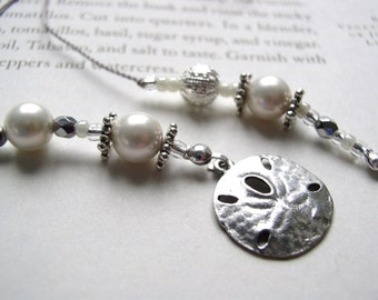 Pearl Dreams Bookmark with Summer Sand Dollar - Beaded Book Thong with Creamy White and Sterling Silver