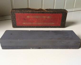 Norton's Abrasives Crystolon Oilstone/Behr Manning/Tool Sharpening Stone/Crystolon Bench Stone/1950's Crystolon Oilstone/Vintage Workshop