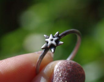 Stacking Star Ring, Sterling Silver Ring Double Star Ring Five Point Star Blackened Oxidised Ring Fine 999 Silver Size P Ring