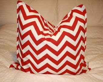 """20"""" x 20"""" Square Pillow Cover - Red/Tan Chevron ZigZag, Cushion Cover, Throw Pillow, Premier Prints, Nursery, Home, Beach, Cottage Pillow"""