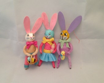 3 Spun cotton rabbit ornaments remade from vintage cup cake picks Maria Paula