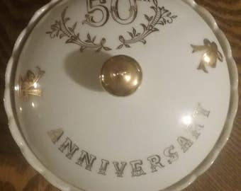 Vintage Lefton china hand painted 50th anniversary candy dish