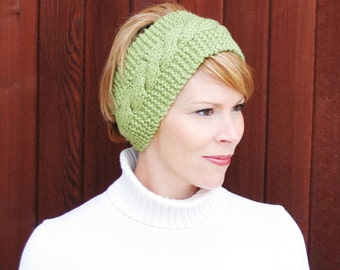Soft - Warm - Green Headband Earwarmer Hat - Hand Knit