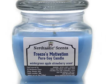 Nerdy Candles | Freeze's Motivation Wintergreen Apple Strawberry Candle | 8oz Glass Jar | Paraffin Soy Scented Candle | Superhero Gifts