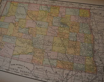 1893 State Map North Dakota - Vintage Antique Map Great for Framing 100 Years Old