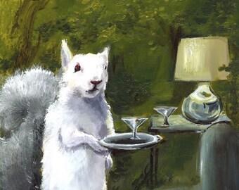Art, écureuil imprimé, Art d'écureuil albinos, écureuil avec martini d'écureuil
