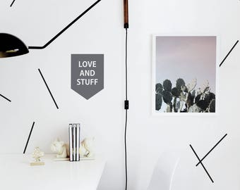 Banner Wall Decal, Love Sign, Gray Wall Decal Kids Wall Decal Custom Color Banner Wall Decal Monochrome Decor. Love and Stuff Wall Decal