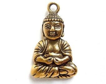 1 Antique Gold Buddha Charm - 21-18-1