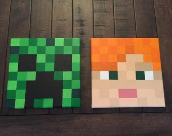Minecraft Inspired Wall Decor Set of 2
