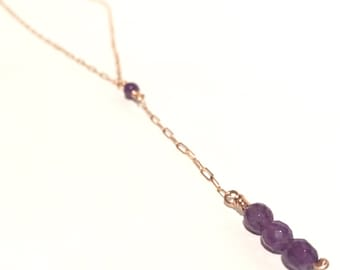 15.5 Inch Amethyst Bronze Necklace  - Reiki Infused