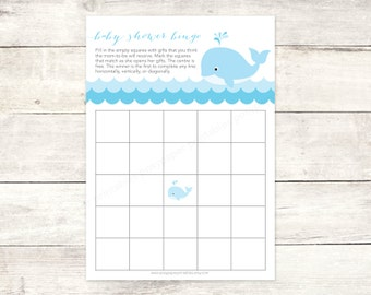 baby shower bingo game card printable DIY blue whale waves grey cute baby boy digital shower games - INSTANT DOWNLOAD