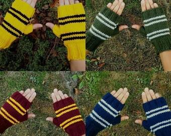Harry Potter House Fingerless Gloves Pattern Instant PDF Download Harry Potter Gryffindor Slytherin Ravenclaw Hufflepuff Gloves Pattern