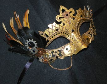 Gold and Black Mask with Feather Steampunk Detailing - Steampunk Mask