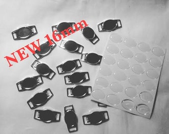 100 Blank 16mm Oval Alloy Paracord Shoe Lace Charms with Oval Epoxy Stickers