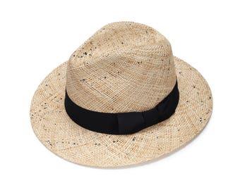 Fedora straw hat with handmade black texture , Fedora straw hat ,  Fedora straw hat for women, straw hat for men, Summer hats , Sun Hat