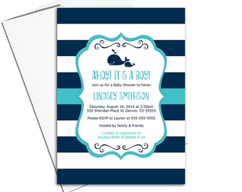 nautical baby shower invitations boy - printable or printed - navy teal turquoise - WLP00797