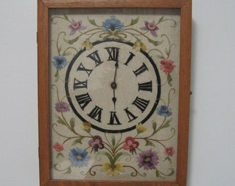 Crewel Embroidery, Wall Clock, Shadow Box, Vintage