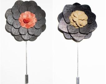 Wood Lapel Pin - Lapel Pin, Mens Lapel Pin, Gift For Him, Boutonniere, Lapel Pin, Groom boutonniere, Wedding boutonniere, Men's Lapel Pin