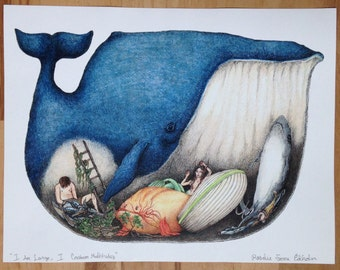 """Whale """"I Am Large, I Contain Multitudes"""" art print, 8.5 by 11 inches, original illustration"""