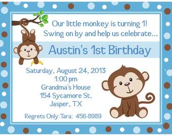 20 Personalized Birthday Invitations   -   Blue Little Monkey
