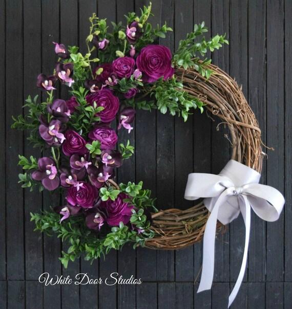 Purple Orchid and Ranunculus Front Door Wreath