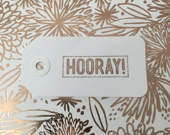 "Rose gold ""hooray!"" birthday gift tag"