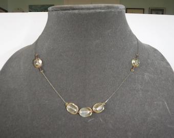 Citrine Garnet Beaded Necklace Vintage