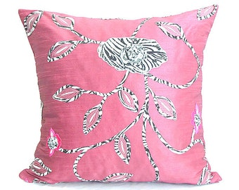 Pink Rose Silk Pillow Cover Pink Floral Embroidery Cushion Cover Zebra applique Pillow Cover Shabby Chic Décor Decorative Pillowcase Bedding