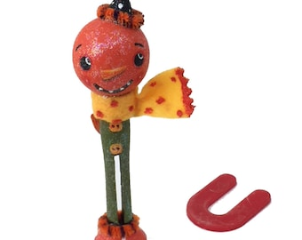 Whimsical Halloween Clothespin Wood Art Doll Handpainted OOAK Holiday Collectible, EHAG