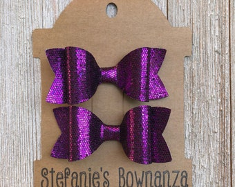 Hair Bows|Purple Sparkle Hair Bows|Fabric Hair Bows|Glitter Hair Bows|Pigtail Hair Bows|Alligator Clip Hair Bows|Princess Hair Bows