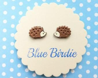 Hedgehog earrings hedgehog jewelry hedgehog jewellery small hand painted hedgehog stud earrings woodland earrings copper hedgehog gifts