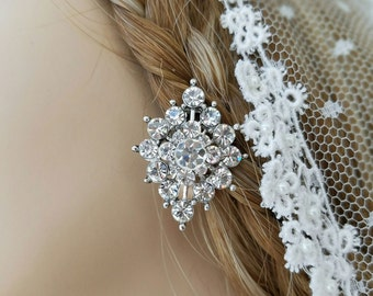 Art Deco  Bridal Earrings Flower Earrings Clip On Earrings Vintage Inspired Earrings