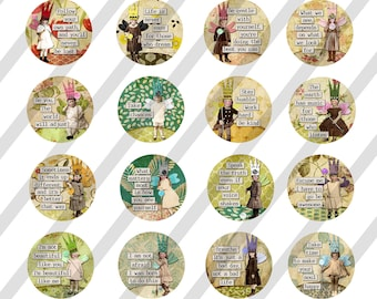 """Digital Collage Sheet, Circle images, Round, Inspiration Fairies, 4 Sizes, 1.5"""", 2"""", 2.5"""", and 3"""" (Sheet no. FS310) Instant Download"""
