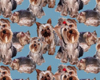 Yorkshire terrier fabric features a crowd of Yorkies