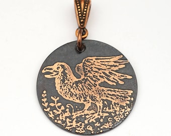 Etched copper crow pendant, round flat copper etched jewelry, Cynthia Thornton design, 28mm