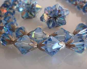 Demi Choker and Earrings, Antique Vintage Blue Crystal