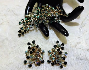 Vintage Shades Green and AB Rhinestone Floral Spray Brooch and Earrings