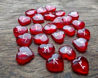 Elder Futhark Rune Set – Red Hearts