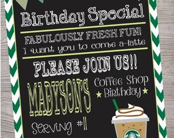 Cafe Coffee Shop Birthday Party Invitation printable digital file