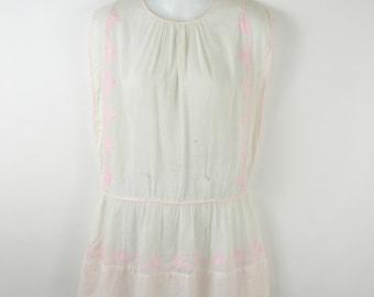 1930s Vintage Girls Pale Pink Drop Waist Pillowcase Slip Dress, Needs TLC
