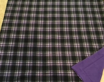 Purple and black Plaid fleece blanket