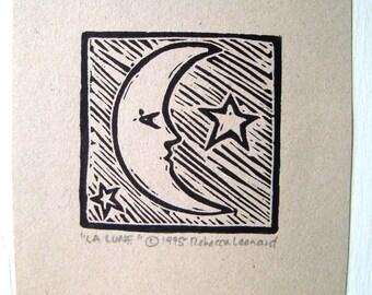 LA LUNE Druck - 2 x 2.  Schwarz. Linoleum Drucke Block Schnitte Hand, die gedruckte Linolschnitt Mond Druck Block handgeschnitzt Drucke handgemachte Geschenke