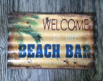 Vintage style corrugated tin metal sign // beach house kitchen bar sign // shabby chic rustic coastal wall art / tropical patio welcome sign