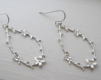 Twig and Blossom Earrings / Branch Earrings / Long Silver Dangle Earrings / Minimalist / Fall Earrings /  14K Gold Filled Wire